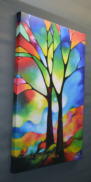Two trees giclee prints by Sally Trace, from the original abstract painting, left view