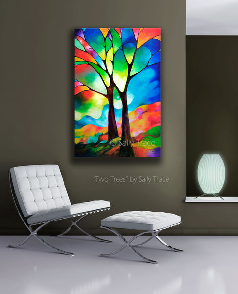 Two trees giclee prints by Sally Trace, from the original abstract painting, room view