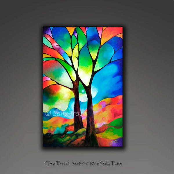 Two trees giclee prints by Sally Trace, from the original abstract painting