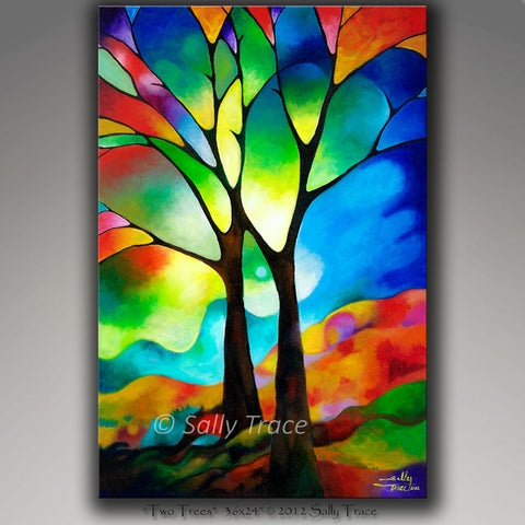 Modern contemporary original paintings for sale, Two Trees by Sally Trace
