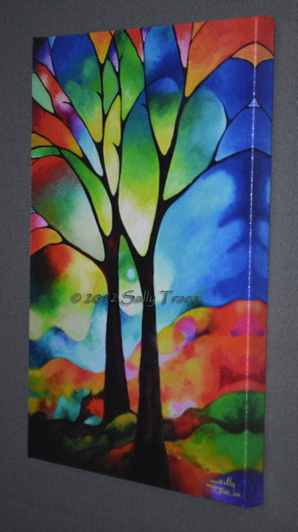 Two trees giclee prints by Sally Trace, from the original abstract painting, right view
