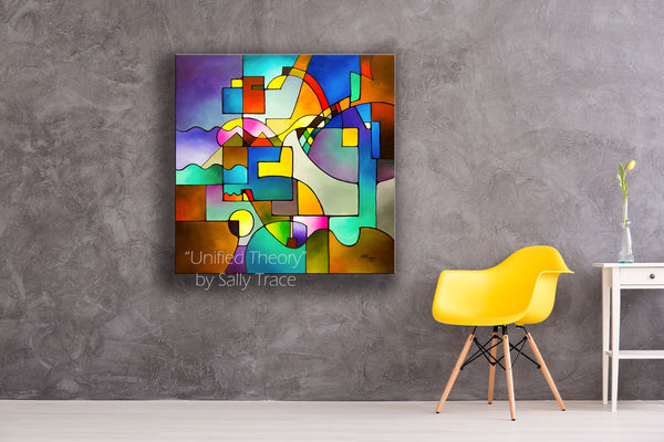 "Large modern art geometric square canvas print ""Unified Theory"" by Sally Trace"