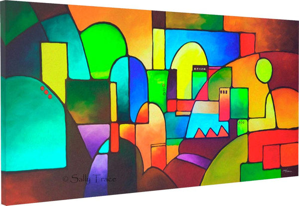 Urbanity 2, giclee print on stretched canvas for sale by Sally Trace