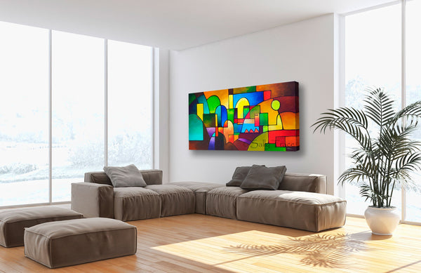 Urbanity 2, giclee print on stretched canvas for sale by Sally Trace, room view