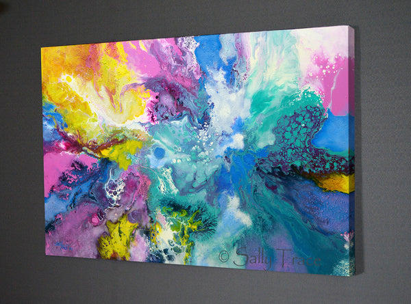 Modern contemporary fluid art prints from the painting When The Angel Came by Sally Trace, side view