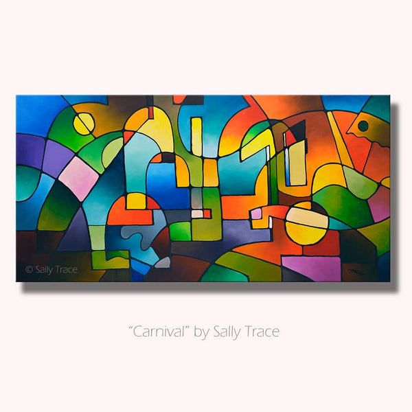 Carnival, Abstract Geometric Landscape Painting, Sold