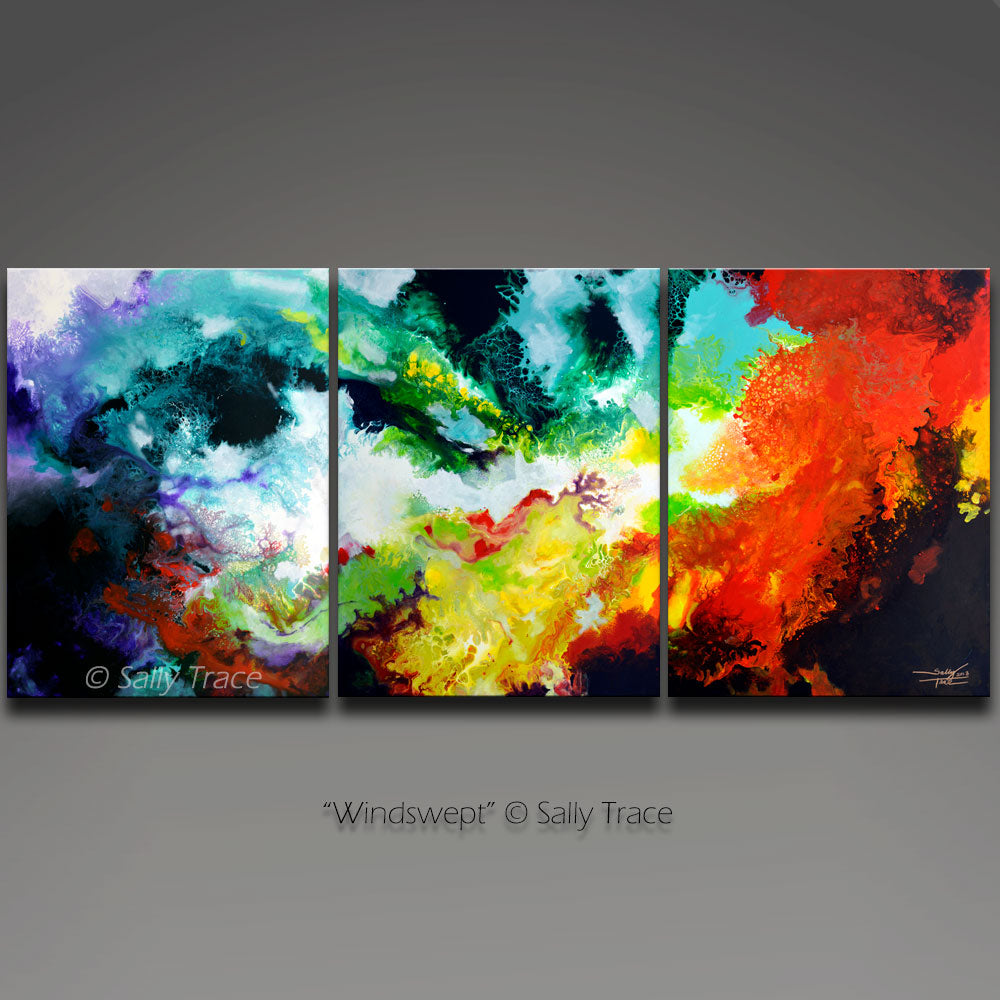 Windswept, abstract art giclee triptych by Sally Trace