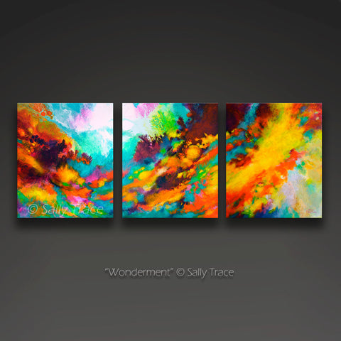 "Original modern art for sale, triptych fluid art painting by Sally Trace ""Wonderment"""