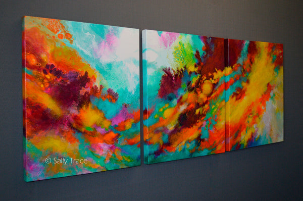 """Wonderment"" Original Abstract Fluid Triptych Painting"