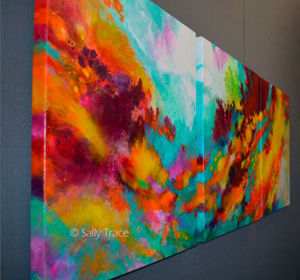 "Original modern art for sale, triptych fluid painting by Sally Trace ""Wonderment"""