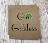 Gin Goddess 'lime' greeting card