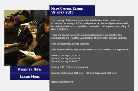 Houston TASO New Umpire Clinics 2019