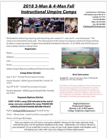 2018 3-Man & 4-Man Fall INSTRUCTIONAL UMPIRE CAMPS