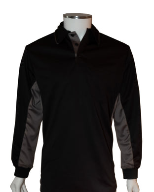 (LONG SLEEVE) Current Major League Replica Umpire Shirt - BLACK with CHARCOAL GRAY - Long Sleeve - Officials Depot