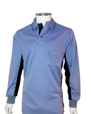 (LONG SLEEVE) Current Major League Replica Umpire Shirt - SKY BLUE with BLACK - Long Sleeve - Officials Depot
