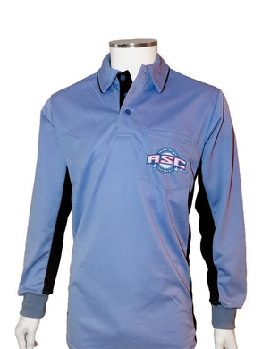 ASC (LONG SLEEVE) Current Major League Replica Umpire Shirt - SKY BLUE with BLACK - Long Sleeve - Officials Depot