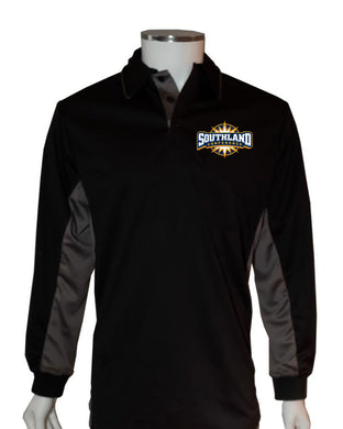 Southland Conference (LONG SLEEVE) Current Major League Replica Umpire Shirt - BLACK with CHARCOAL GRAY - Long Sleeve - Officials Depot