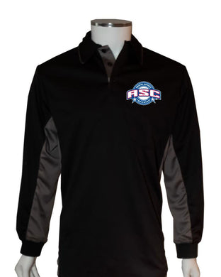 ASC (LONG SLEEVE) Current Major League Replica Umpire Shirt - BLACK with CHARCOAL GRAY - Long Sleeve - Officials Depot