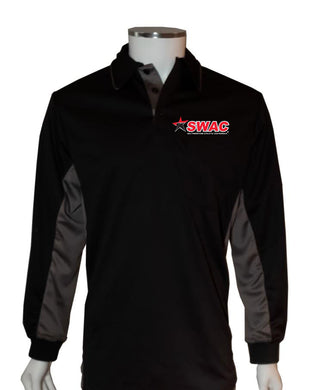 SWAC (LONG SLEEVE) Current Major League Replica Umpire Shirt - BLACK with CHARCOAL GRAY - Long Sleeve - Officials Depot