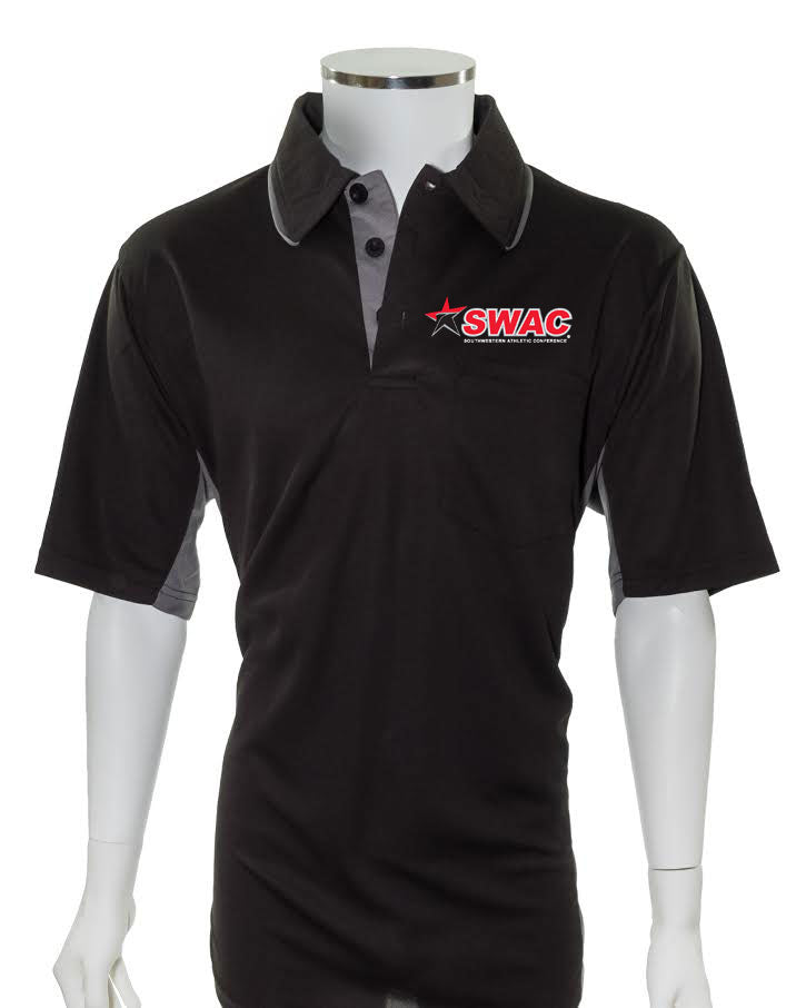 SWAC Current Major League Replica Umpire Shirt - BLACK with CHARCOAL GRAY - Officials Depot