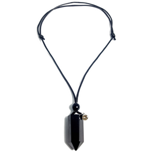 Unisex Black Adjustable Birthstone Pendant Necklace