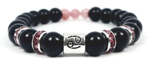 cancer's rose black onyx bracelet by zodiac bling