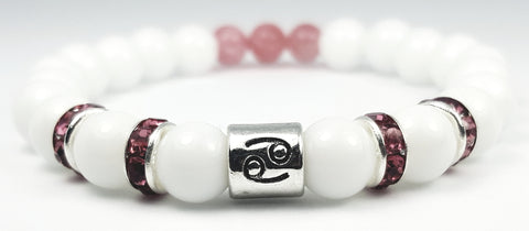 cancer's rose white onyx bracelet by zodiac bling
