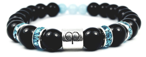 aries's aquamarine black onyx bracelet by zodiac bling