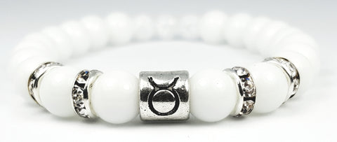 taurus's white crystal white onyx bracelet by zodiac bling