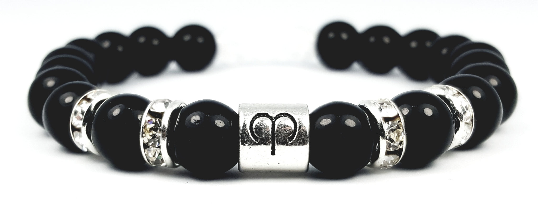 aries's white crystal black onyx bracelet by zodiac bling