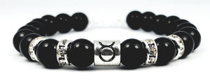 taurus's white crystal black onyx bracelet by zodiac bling