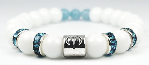 aries's aquamarine white onyx bracelet by zodiac bling
