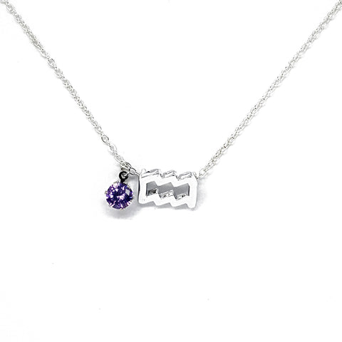Aquarius's Silver Birthstone Necklace
