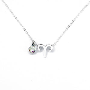 Custom (Aries) Silver Zodiac Birthstone Necklace