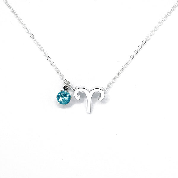 Aries's Silver Birthstone Necklace