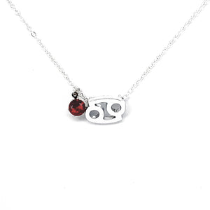 Cancer's Silver Birthstone Necklace