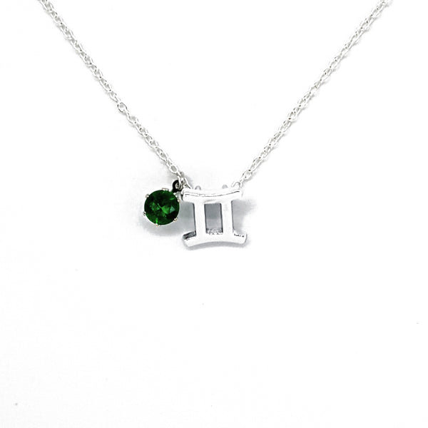 Custom (Gemini) Silver Zodiac Birthstone Necklace