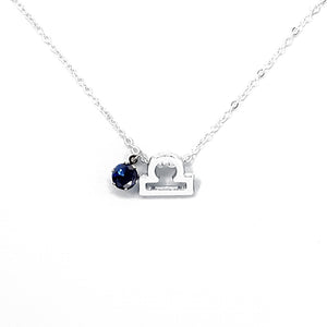 Libra's Silver Birthstone Necklace