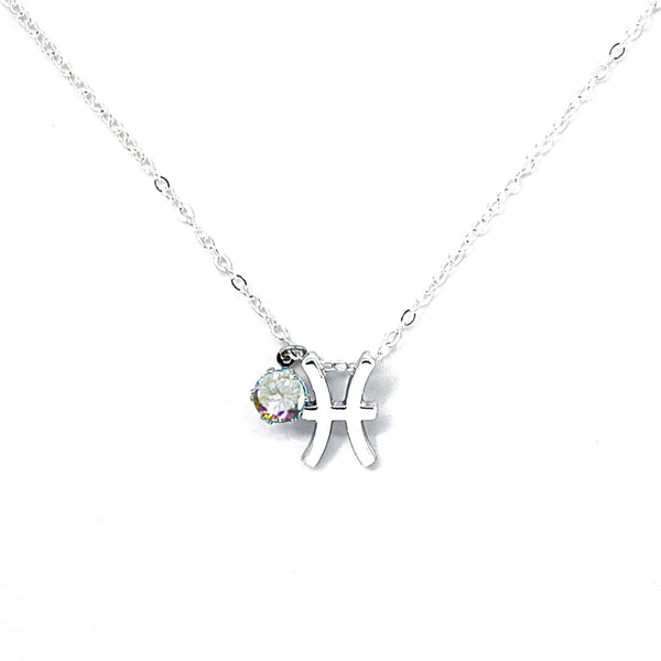 Custom (Pisces) Silver Zodiac Birthstone Necklace