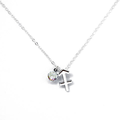 Custom (Sagittarius) Silver Zodiac Birthstone Necklace