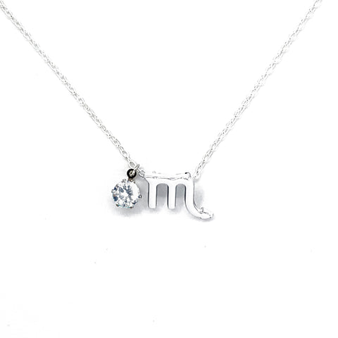 Custom (Scorpio) Silver Zodiac Birthstone Necklace
