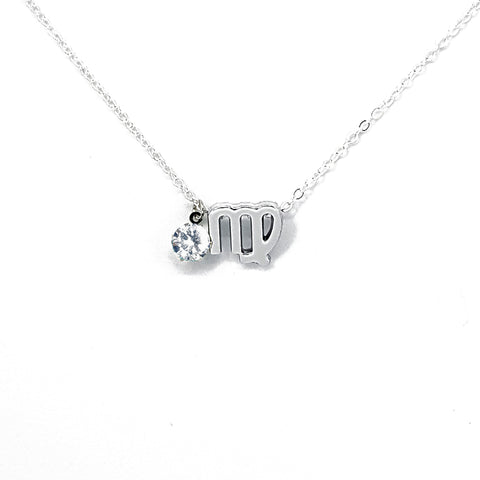 Custom (Virgo) Silver Zodiac Birthstone Necklace