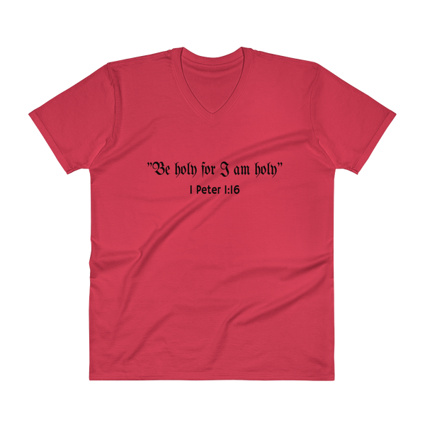 "V-Neck T-Shirt: ""Be holy for I am holy"""
