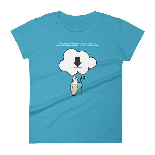 "Women's short sleeve t-shirt ""Moses downloads from the cloud"""