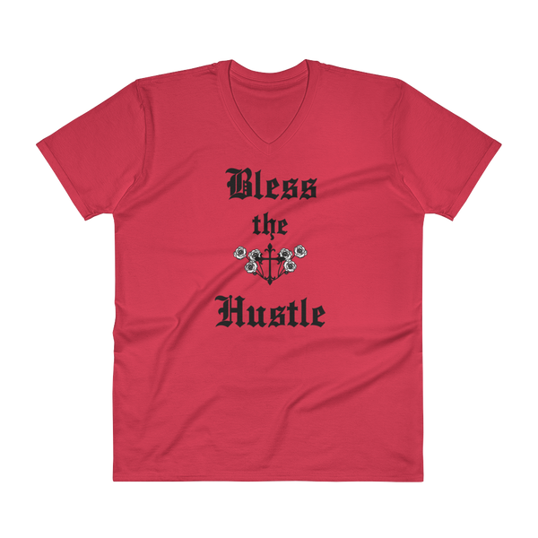 "V-Neck T-Shirt ""Bless the Hustle"""