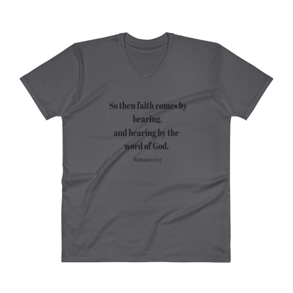"V-Neck T-Shirt ""Faith comes by Hearing"""