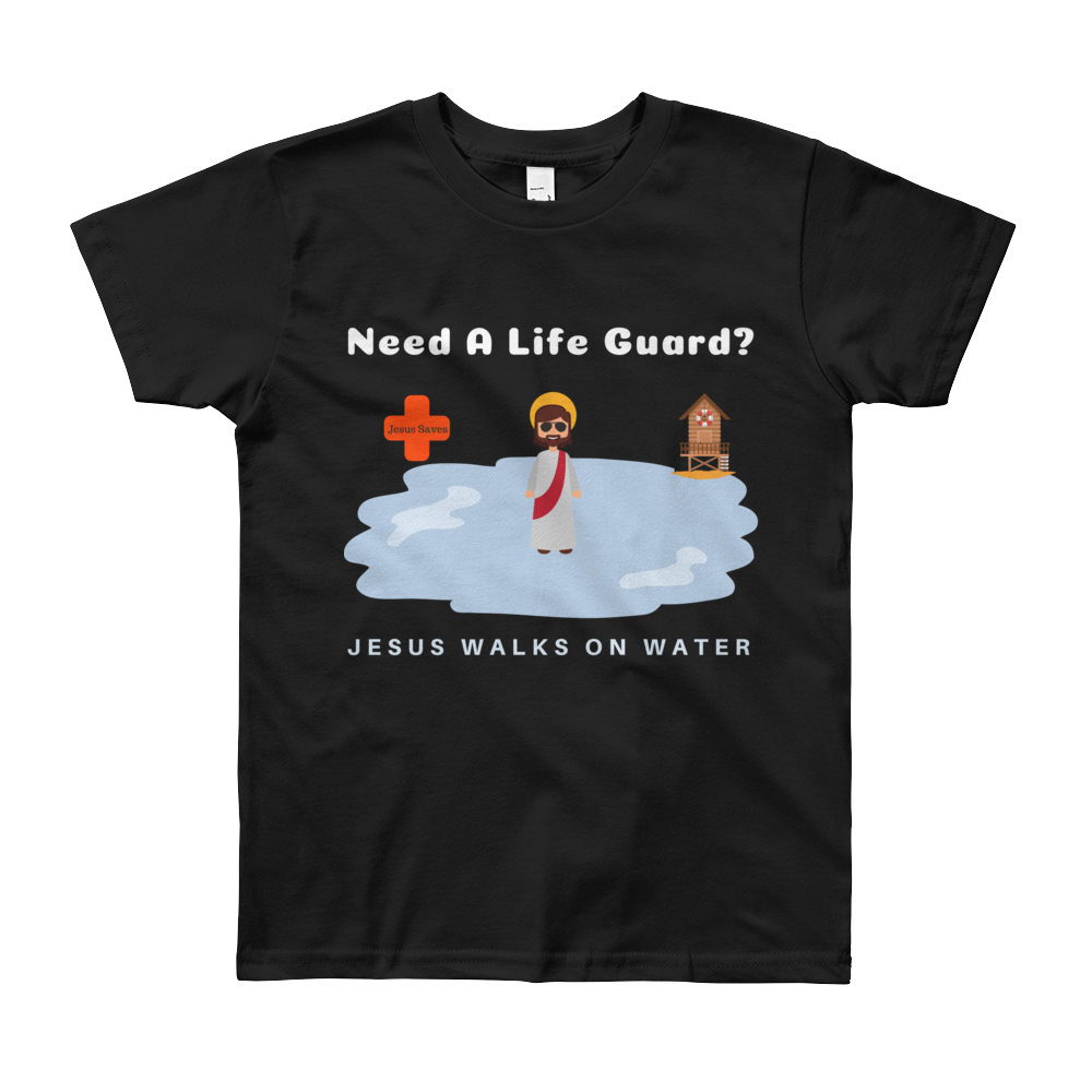"Youth Short Sleeve T-Shirt ""Jesus Walks on Water"""