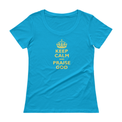 Ladies' Scoopneck T-Shirt: Keep Calm and Praise God