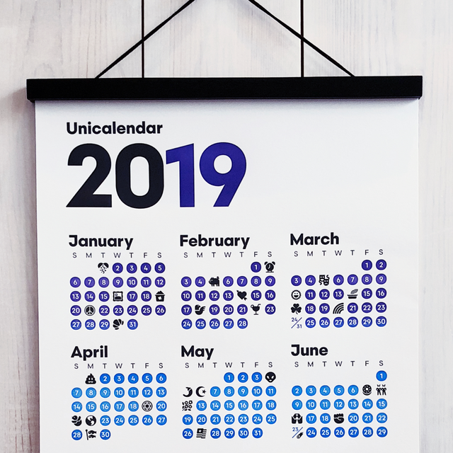 2019 Unicalendar letterpress emoji calendar with magnetic hanger