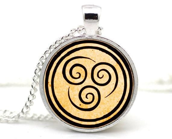 Water Nation. Earth Nation. Fire Nation. Air Nation. Necklace pendants.